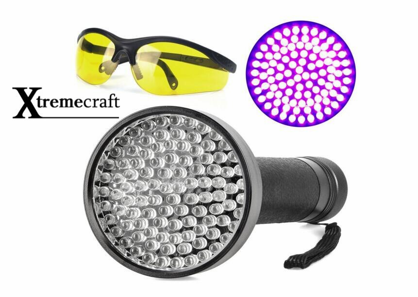 100 UV Black Light 395nM LED Flashlight For Cat Pet Urine Scorpion Detectors Battery Operated Free UV Protective Safety Sunglass