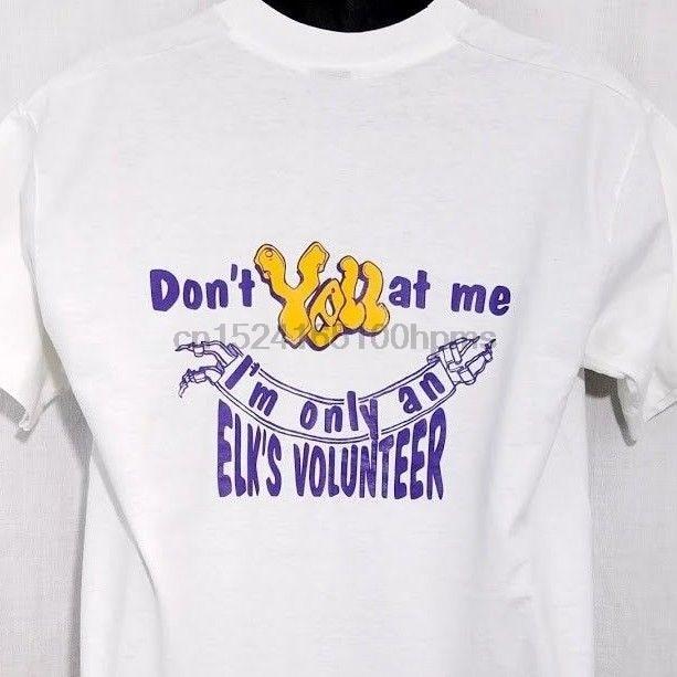 Elks Lodge Herren T Shirt Vtg 80s 90s Elks Volunteer Made In USA Weiß Größe Große