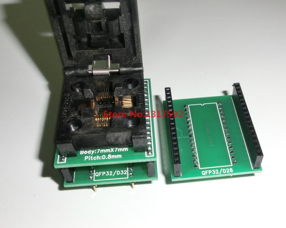 Free shipping CHIP PROGRAMMER SOCKET TQFP32 QFP32/ LQFP32 TO DIP28 DIP32