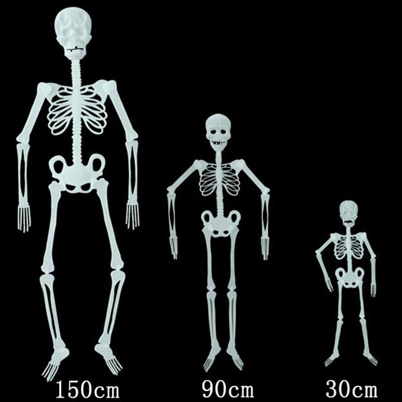 Светящийся Скелетон 30/90/150 см, вечерние украшения для Хэллоуина, забавные Серебристые Ghost Bone 2020, декор для Хэллоуина, товары для дома