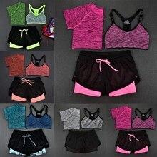 2017 hot 3 stücke sport anzug crop top + shorts + bar outfit yoga training jogging sportwear anzüge lot