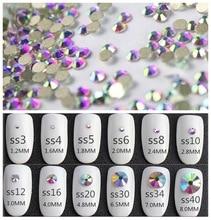 Super paillettes Nail Art strass décorations cristal AB ss3-ss50 Non HotFix strass couture et tissu gament verre strass
