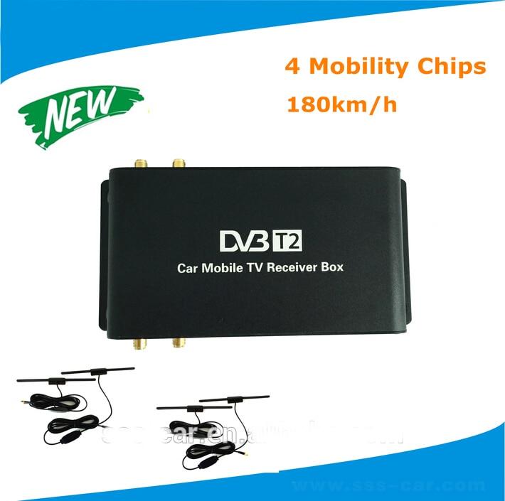 Receptor de tv digital para coche, dvb-t2 de tv móvil digital de 180 km/h/hb dvb-t2 tv box con 4 antenas, USB externo, HDMI compatible con Rusia, Sudeste de Asia