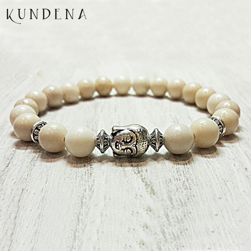 Men women Buddha bracelet f-ossil Stone mala prayer beads healing bracelets nature stone stretch bac