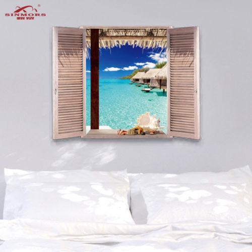 Tropical Maldivas playa etiqueta de la pared de mar cabañas agua 3D efecto ventana etiqueta extraíble ver arte mural