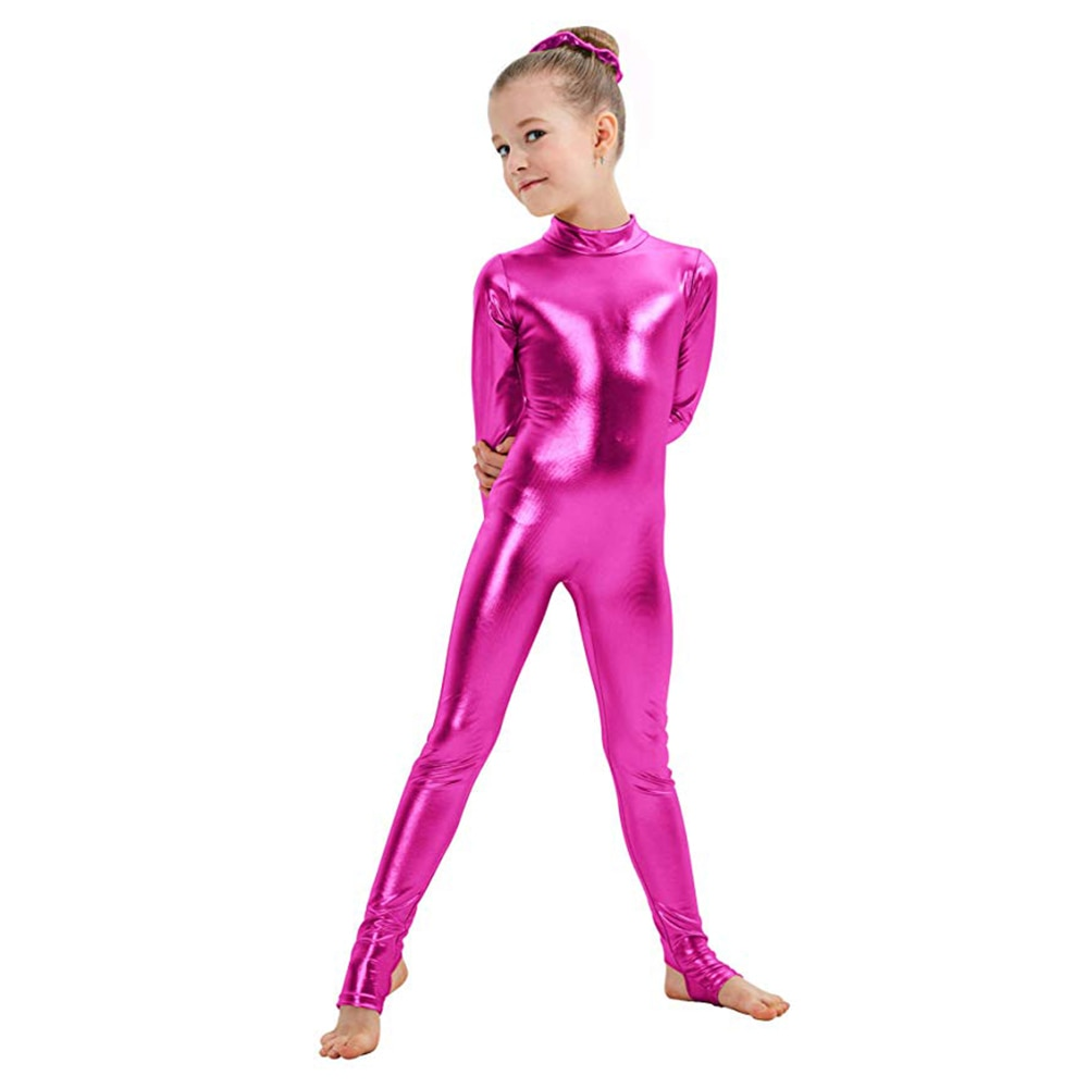 AOYLISEY ילדים ארוך שרוול מתכתי Unitards ארכובות ריקוד התעמלות בגדי גוף בנות מבריק Dancewear שלב ביצועים להראות חליפה