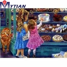 5d Diamond Painting Little Girls Window Shopping,Bakery,Dog, Diamond Embroidery Mosaic Pattern Handmade Crafts Home Decorations