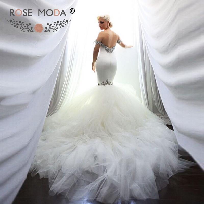 Rose Moda Stunning Off Shoulder Strap Crystal Jeweled Sweetheart Mermaid Wedding Dress with Royal Train Low V Back 1M Train