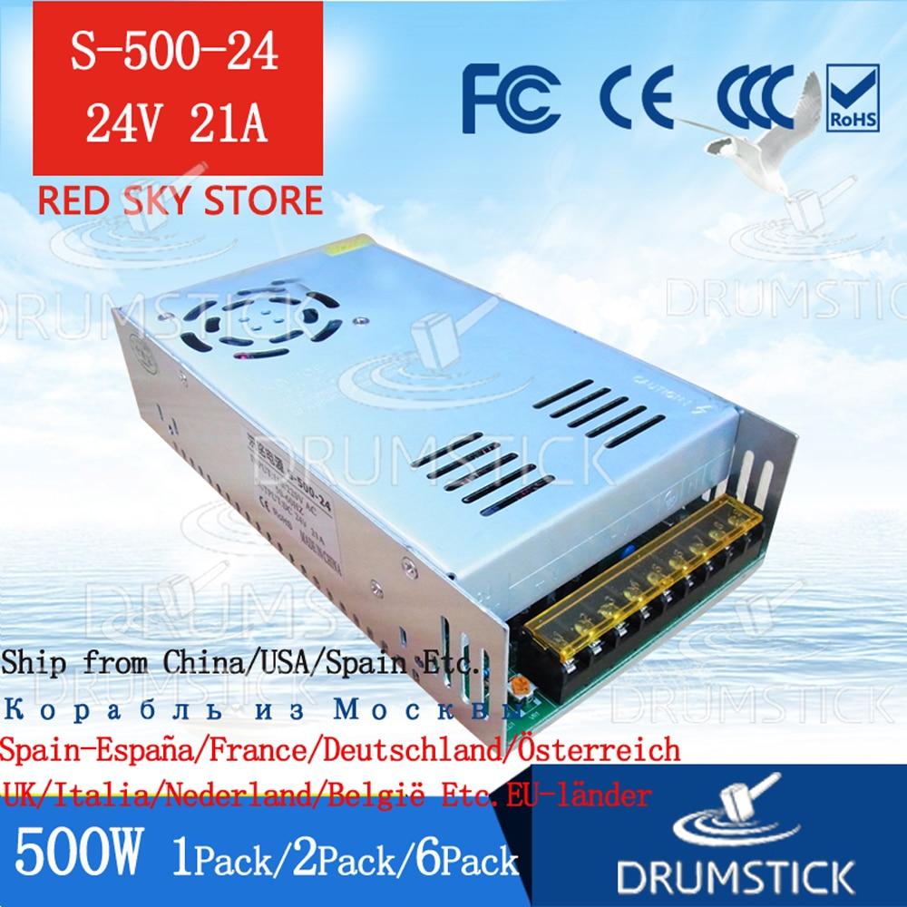 Fuente de alimentación continua de 220V CC 500W, transformador de potencia de conmutación de 24V 20a S-500-24 Monitor de tira de luz LED con pantalla de CC