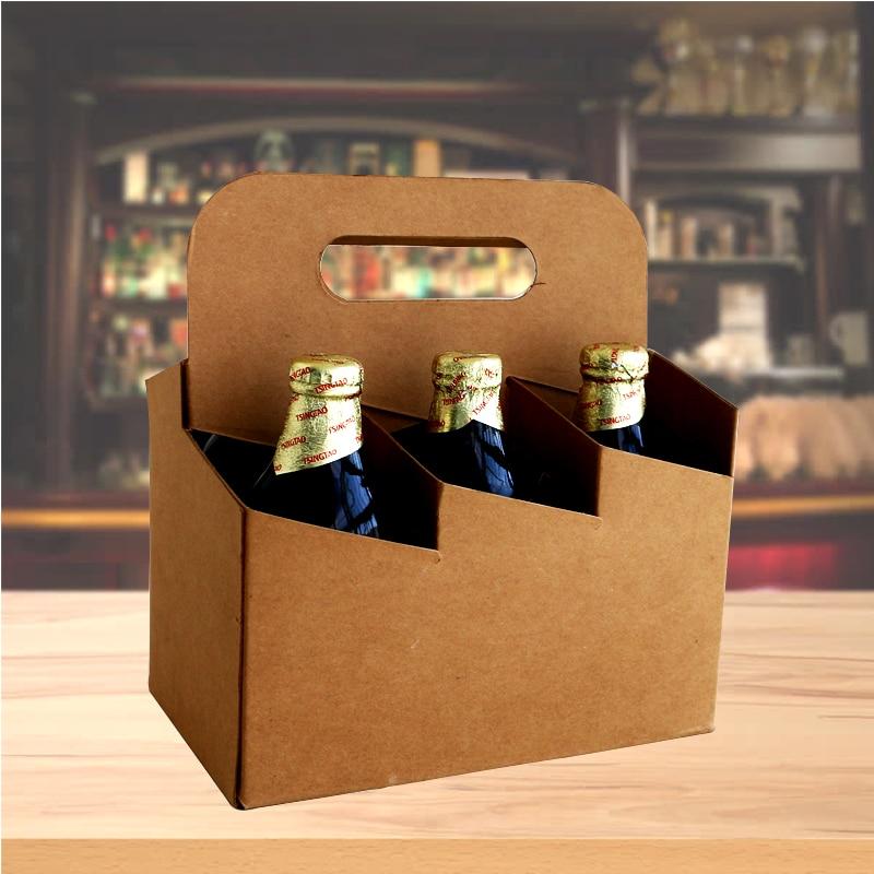 1 Uds bolsa de embalaje de cerveza botella de cerveza porteador a latas o botellas de bolsa de cartón Bar para fiestas de boda suministros