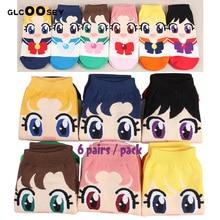 6 paia di calzini da donna Anime Cartoon Moon Cute Girls calzini da barca invisibili pantofole di cotone caviglia corta donna superficiale Kawaii