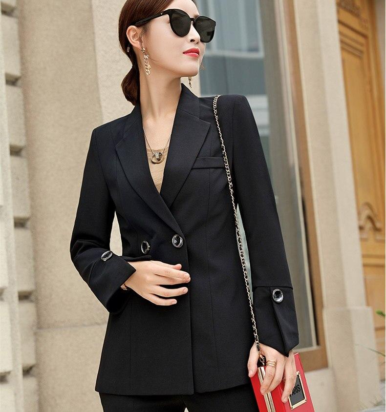Traje de pantalones blancos negros para mujer, chaqueta de esmoquin con doble botonadura y pantalón de pierna ancha, traje de Ropa de Trabajo para mujer, trajes de 2 piezas