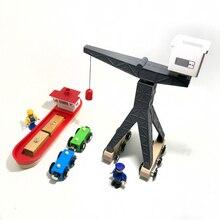 P145 accesorios de escena de pista de madera Puerto Terminal barco de carga y grúa adecuada para tren de juguete de pista de madera de plástico