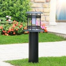 solar powered lawn lights led iron solar bollard lamp outdoor garden path auto on/off light villa decoration