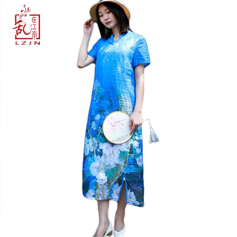 LZJN 2019 Vrouwen meisje Zomer Jurk Vlas Linnen Cheongsam Qipao Kraag Chinese Stijl Royal Blue Lange Party Jurk Vestido da festa