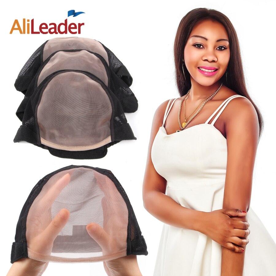 10Pcs/Lot Wholesale 5*5 U Part MONO Wig Caps For Make Wigs Glueless Full Lace Wig Caps For Weaving Mesh Hair Net Wig Base Cap