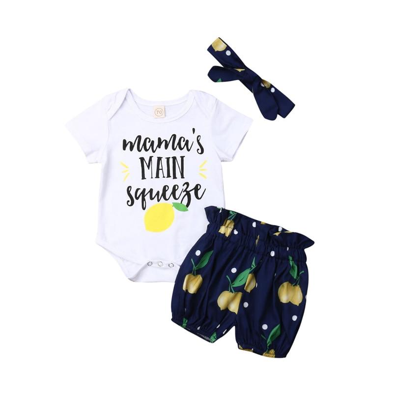 Baby Girl Clothing Set 3Pcs Lemon Clothes Romper Tops+Shorts Pant Outfits Headband Summer Kids Set Baby Costume Infant Clothing