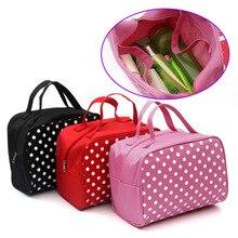 Hot esthéticienne mode Dot sac cosmétique Femme organisateur sacs voyage stockage sac de rangement étui de Maquillage Trousse Maquillage Femme