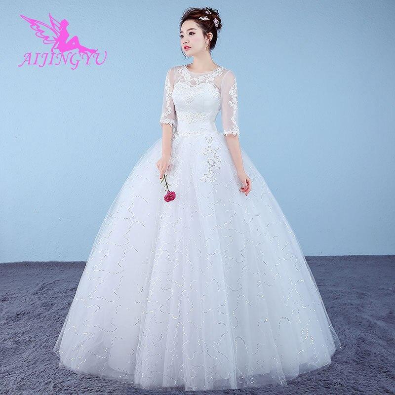 AIJINGYU 2021 جميلة مخصصة جديد حار بيع رخيصة الكرة ثوب الدانتيل يصل عودة الرسمي العروس فساتين الزفاف اللباس WK628
