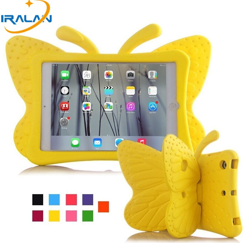 Funda EVA a prueba de golpes para iPad Mini 5 1 2 3 4 funda con soporte de mariposa de dibujos animados para iPad Mini 5 MINI 3 fundas seguras para niños + bolígrafo