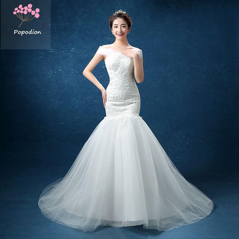 فستان زفاف حورية البحر من الدانتيل ، فستان زفاف مثير مع ذيل ، شراء مباشر من الصين WED90158