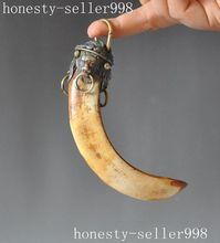 Dents de vieux sanglier chinois cloisonné Bronze   Lion Animal, évasé les pendentifs maléfiques