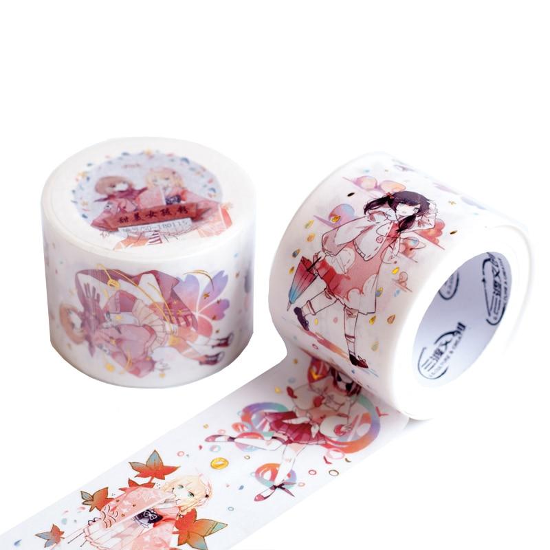 Tinta especial 5m dulce largo lindo anime lolita chica cinta decorativa washi DIY planificador scrapbooking cinta adhesiva con papel de liberación
