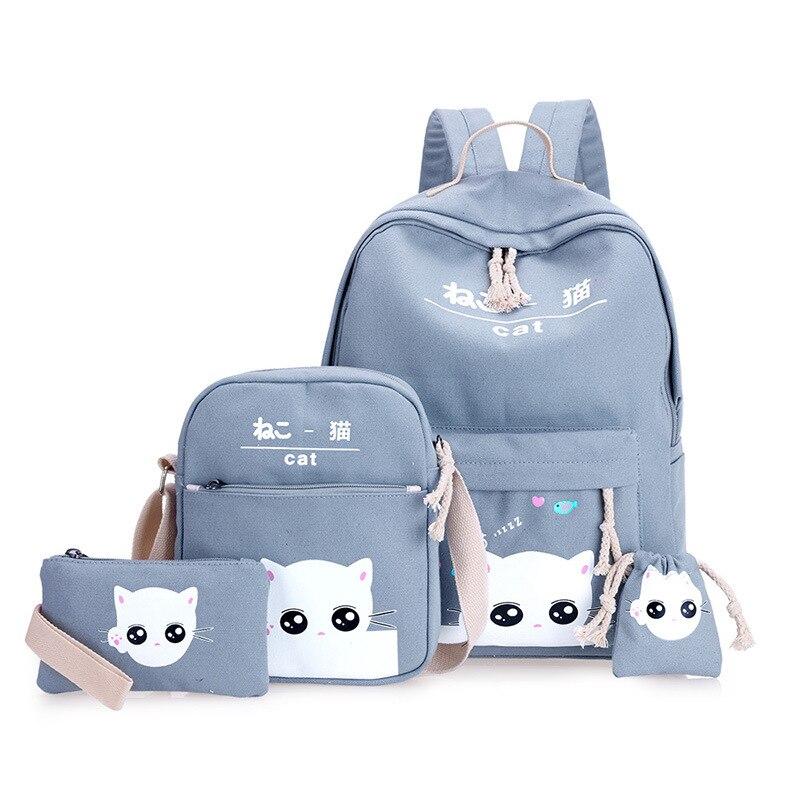 4 unids/set de mochila de moda para mujer, bolsa de Coke Cup, mochila de lona, mochila de viaje para mujer, conjunto de bolsa para chicas adolescentes