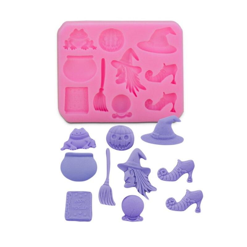 Molde de silicona para Fondant de Halloween con forma de rana bruja, molde para pasteles y magdalenas en 3D, molde para decoración de dulces y Chocolate, herramientas de pasta de goma