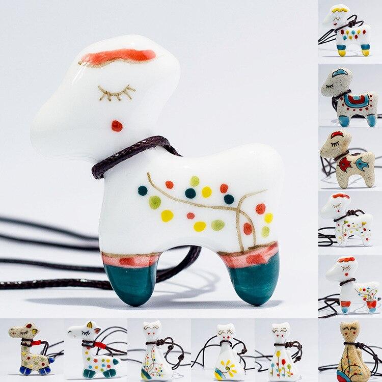 ¡Novedad! ¡venta al por mayor! bonito collar de cerámica con diseño de jirafa y arcoíris