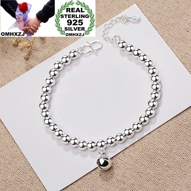 OMHXZJ Großhandel Europäischen Mode Frau Mädchen Party Geburtstag Hochzeit Geschenk Vintage Perlen Glocke 925 Sterling Silber Armband BA111