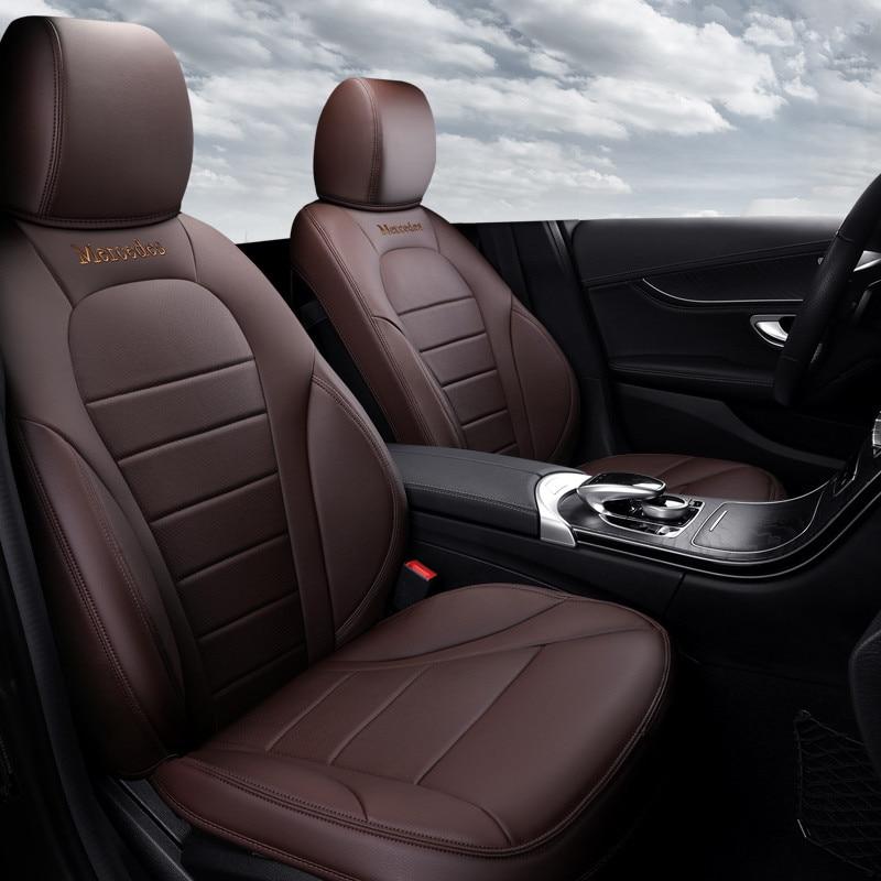 Cubiertas para asientos de coche de cuero genuino (delanteros + traseros) especiales personalizadas, estilismo para automóvil para Mercedes Benz Clase C, accesorios para automóviles