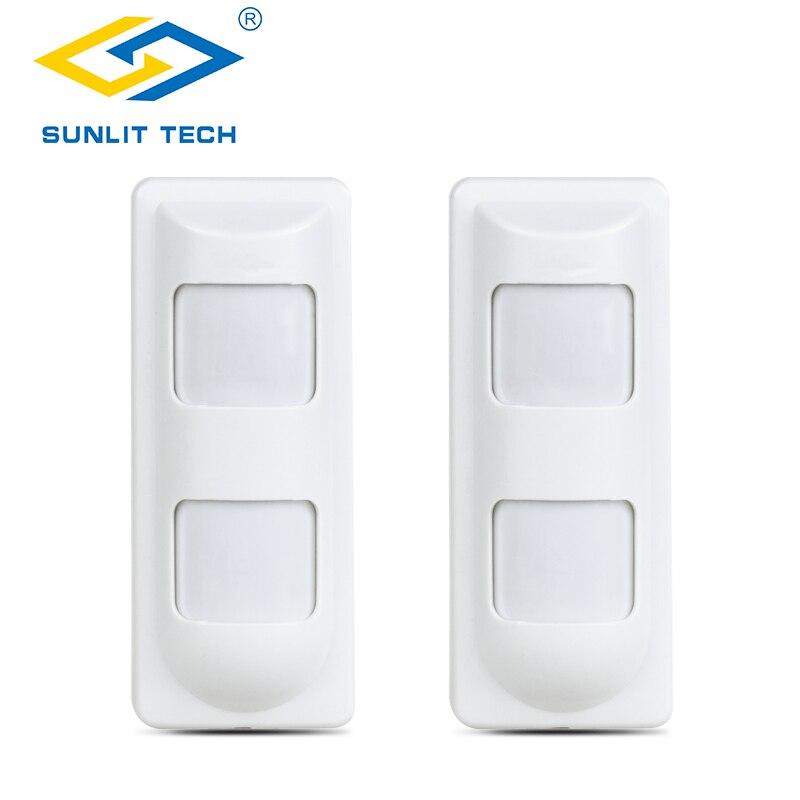 Sunlit Tech IP65 impermeable con cable microondas doble Sensor PIR Detector de movimiento Anti enmascaramiento para la seguridad de la Oficina de la casa alarma de seguridad