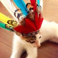Costumes ethniques chat de Style indien   Plumes pour animaux domestiques, chapeau, Costume de Festival, Cosplay pour chats