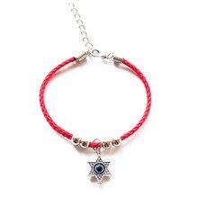 Mode étoile de David charme rouge chaîne fil corde pentagramme Bracelet pour femmes filles croix Hamsa mauvais œil ancre main bijoux