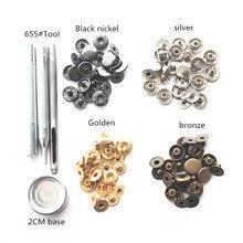 Accessoires de bagage à main bricolage 4 couleurs + outil à main   Boutons à pression, nickel noir 655, 1cm avec boucle, 40 jeux de