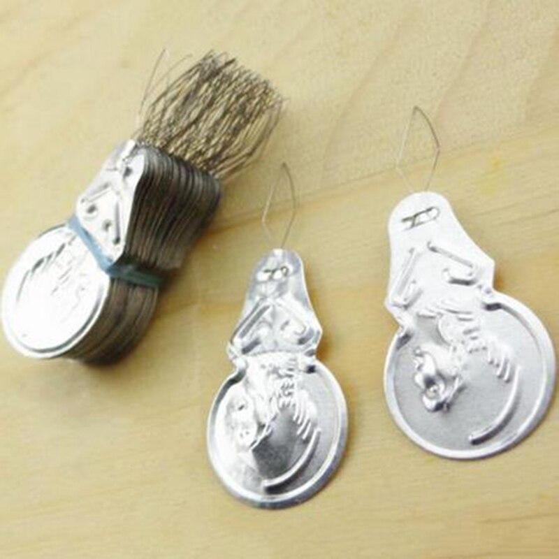 50x Silver Tone Wire Loop DIY Needle Threader Stitch Insertion Hand Machine Sewing Tool HD0064