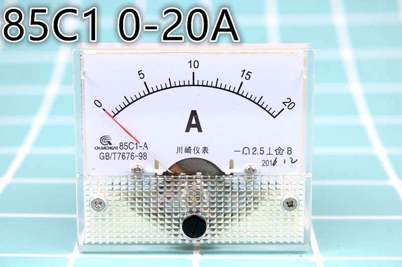 85C1 aguja puntero 0-20A probador de corriente Panel Amperímetro analógico 56mm x 64mm