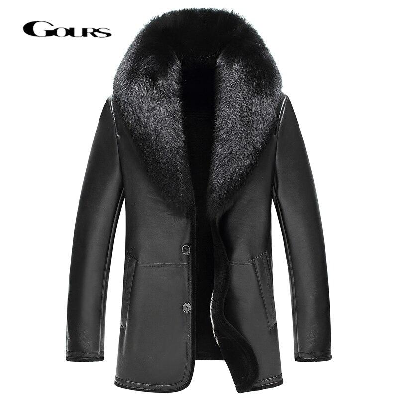Gours inverno jaqueta de couro genuíno dos homens roupas de pele carneiro real casaco shearling jaquetas e casacos lã forrado gola de pele de raposa