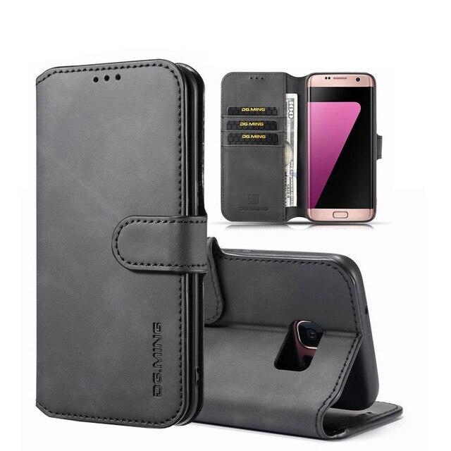 Para Samsung S7 Edge S8 S9 S10 Plus S20 funda de teléfono tipo billetera para Samsung Note 8 9 10 lujosa Funda de cuero mate con tapa plana vintage