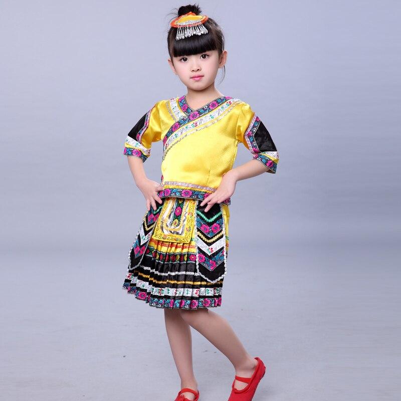Ropa para niño y niña Miao ropa para niños Hmong Ropa de baile de actuación Dai Hulusi ropa de actuación con tocado