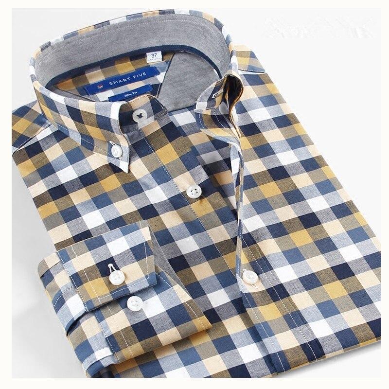 Smart Five Men's Shirts Casual Long Sleeve Cotton Plaid Shirts Long Sleve Slim Fit Brand Shirt Man Size 5XL 6XL
