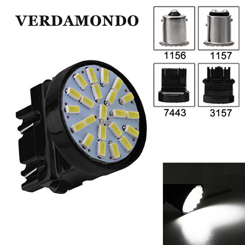 1156 BA15S luz LED reversible 1157 BAY15D 3157 T25 7443 T20 freno de la cola de lámpara 22 SMD 3014 Chips blanco DC 12V