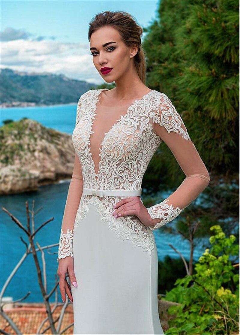 Купить с кэшбэком LORIE Sexy Mermaid Wedding Dress Long Sleeves Lace Appliqued Illusion Back Boho Wedding Gown Long Train Bride Dress