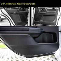 teeze 4pcs new interior carbon fiber doors side edge anti kick protection pad sticker for mitsubishi pajero 2007 2015