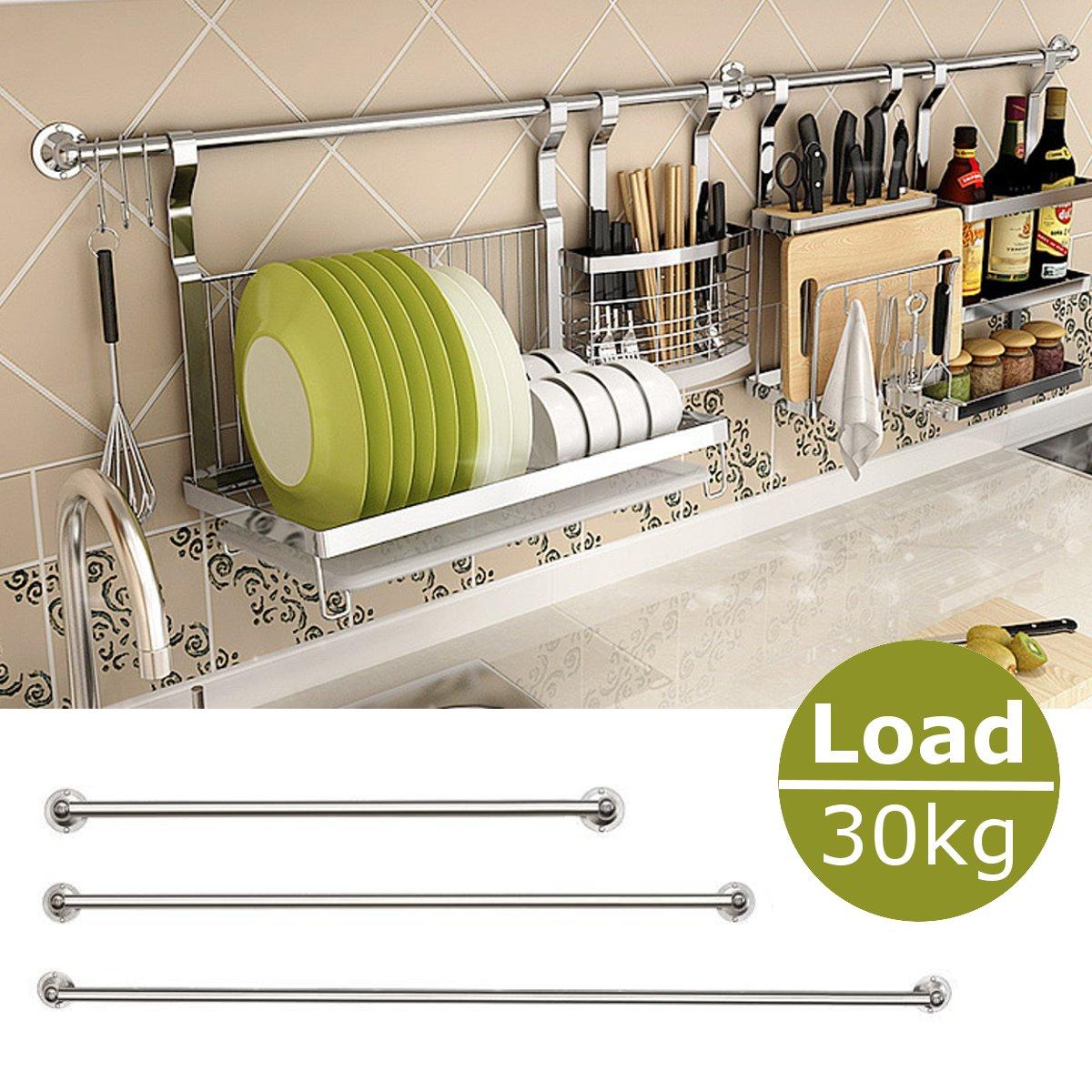נירוסטה תליית מוט בית מטבח בר ארגונית קיר רכוב אחסון מקל מחזיק מטבח כלים אביזרי 30/40/ 50/60cm