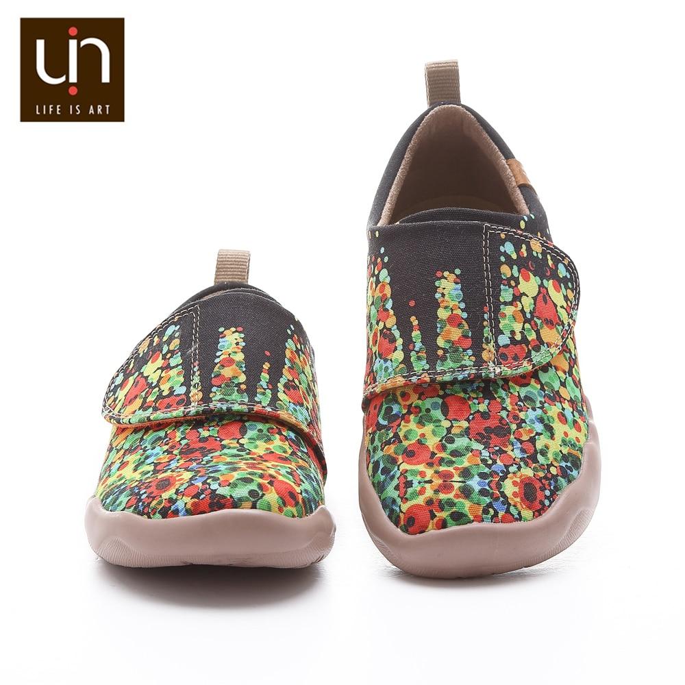 UIN Sagrada Familia Design Painted Canvas Shoes for Big Kids Easy Hook & Loop Soft Casual Sneakers Girls/Boys enlarge