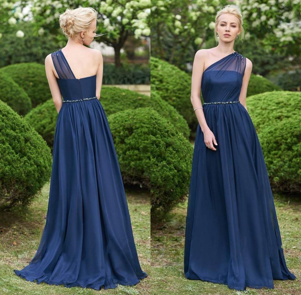Robe demoiselle d'honneur One Shoulder Navy Blue Bridemaid Dresses Long Beaded Prom Dresses Wedding Party Gowns