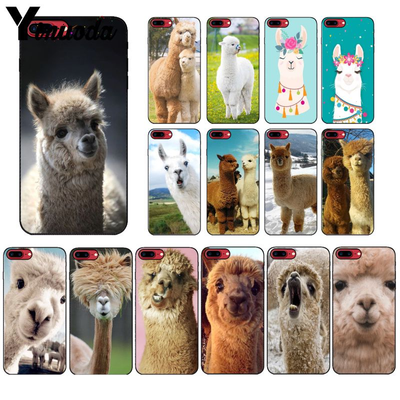 Yinuoda Lama Llama Alpacas Animal cubierta inteligente suave negro caja del teléfono Shell para iPhone X XS X MAX 6 6S 7 7plus 8 8Plus 5 5S XR