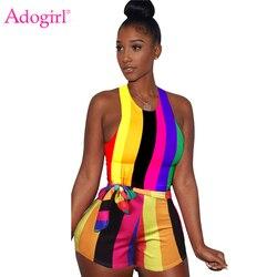 Adogirl colorido arco-íris listrado macacão feminino com faixas tanque macacão sem mangas verão playsuits sexy clube bodysuit
